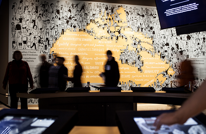 Visitors at the Protecting Rights in Canada Gallery. Photo: Aaron Cohen/CMHR