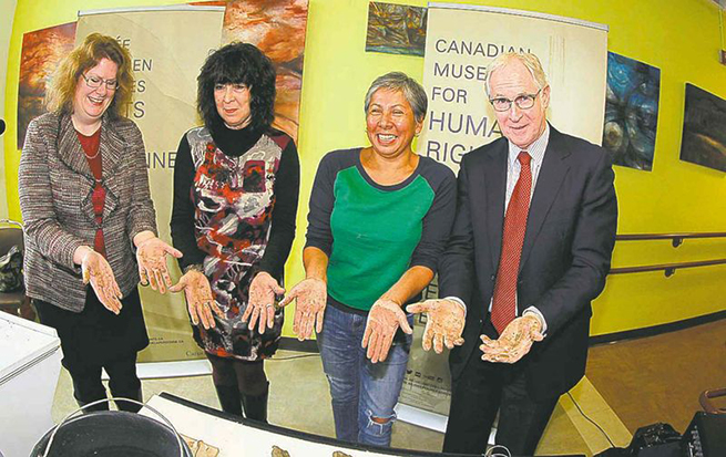 From left, Mary Reid, Lee-Ann Martin, Rebecca Belmore, and CEO of the CMHR, Stuart Murray announce theTraceproject.