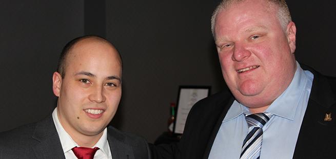Harry Wilmont |Mayor Rob Ford |Danbi Cho of Miziwe Biik Aboriginal Employment & Training |2014 TABA Awards
