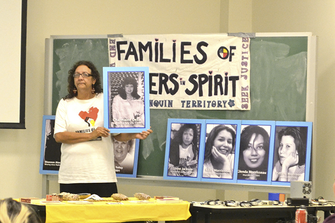 Bridget Tolley of Families of Sisters in Spirit talks to the audience about the struggle for justice of many families of missing and murdered Indigenous women. (This photo by Cherise Seucharan)