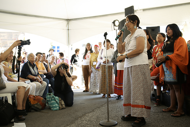 During the closing ceremony the Indigenous declaration was read by Susana Deranger.