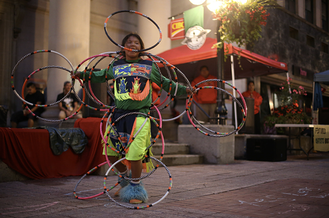 Theland Kicknosway hoop dancing for the opening night festivities of the Peoples' Social Forum.