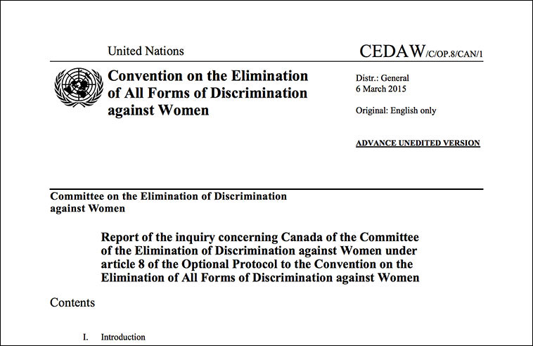 CANADA COMMITS 'GRAVE VIOLATION' OF RIGHTS OF ABORIGINAL WOMEN AND GIRLS