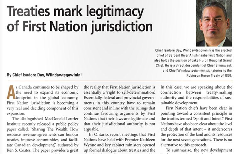 TREATIES MARK LEGITIMACY OF FIRST NATION JURISDICTION