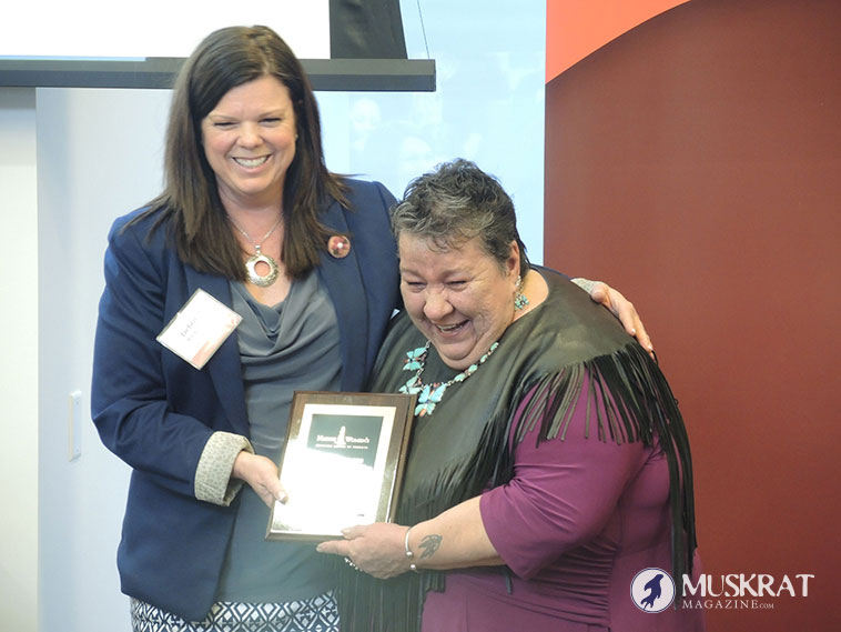Joanne Dallaire accepting her award.