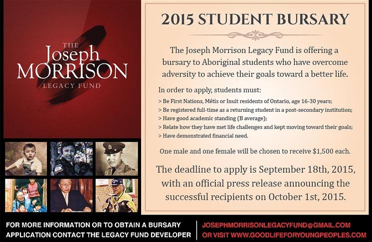 JOSEPH MORRISON LEGACY FUND – 2015 STUDENT BURSARY