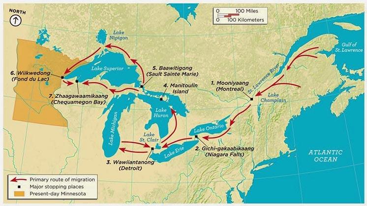 Map of Anishinaabe Migration