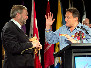 NDP Leader, Thomas Mulcair and AFN National Chief, Perry Bellegarde after Addressing AFN Congress
