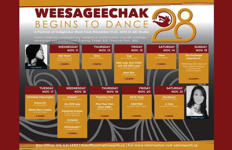 NATIVE EARTH PERFORMING ARTS ANNOUNCES NEW PROFESSIONAL DEVELOPMENT SERIES PART OF THE 28TH WEESAGEECHAK BEGINS TO DANCE FESTIVAL NOVEMBER 11 – 21, 2015