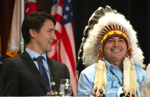Canadian Prime Minister Justin Trudeau and AFN National Chief Perry Bellegarde