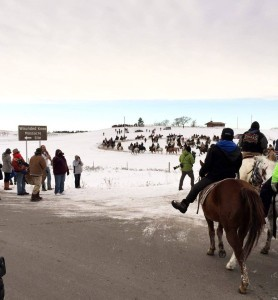 Chief Big Foot Memorial Ride arrives at Wounded Knee on Tuesday, December 28, 2015 | Image source: Diane DuBray