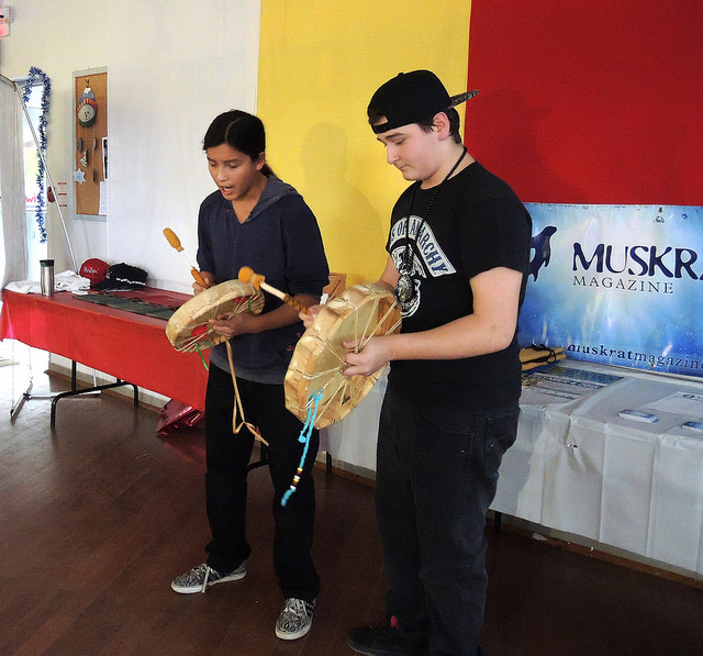 Youth from Wasauksing Kinomaugewgamik School perform at drum song