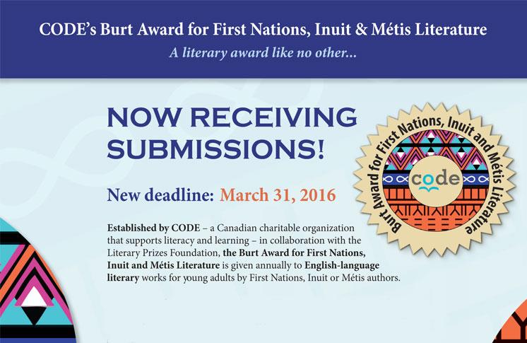 CODE'S BURT AWARD FOR FIRST NATIONS, INUIT & MÉTIS LITERATURE