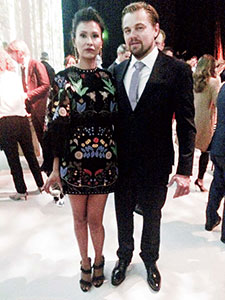 Melaw Nakehk'o and Leonardo DiCaprio at LA premier of The Revenant