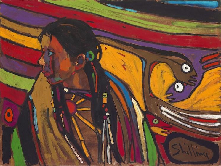 Arthur Shilling, Ojibway Dreams (young girl in dream), (detail), c.1984, Oil on Canvas, 76.2 x 101.6 cm, Estate of Arthur Shilling, Photo: Michael Cullen, TPG Digital Arts Toronto
