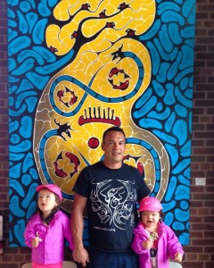Artist Shaun Hedican and daughters at the opening of his Halftone Empire exhibition in Thunder Bay | Image source: Shaun Hedican
