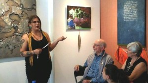 Rama First Nation artist Nancy King at Toronto opening discusses her piece