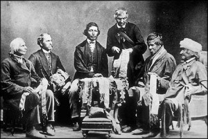 Iroquois Chiefs from the Six Nations Reserve reading Wampum belts. Among those pictured are Sir William Johnson's descendants through Mary Brant, sister of Joseph Brant | Imgae source: National Archives of Canada