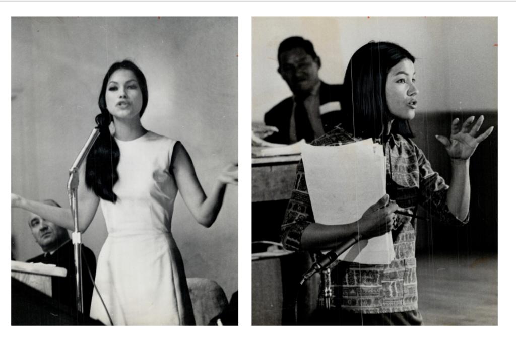 Kahn-Tineta Horn address crowd during 1960's as an Indigenous activist