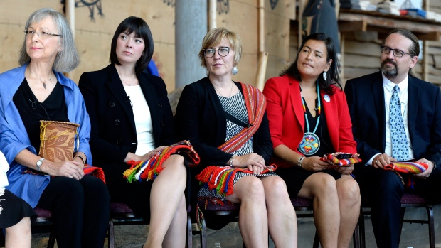 Photo of the Commissioners in the Missing and Murdered Indigenous Women and Girls Inquiry | Image Source: Justin Tang, Canadian Press