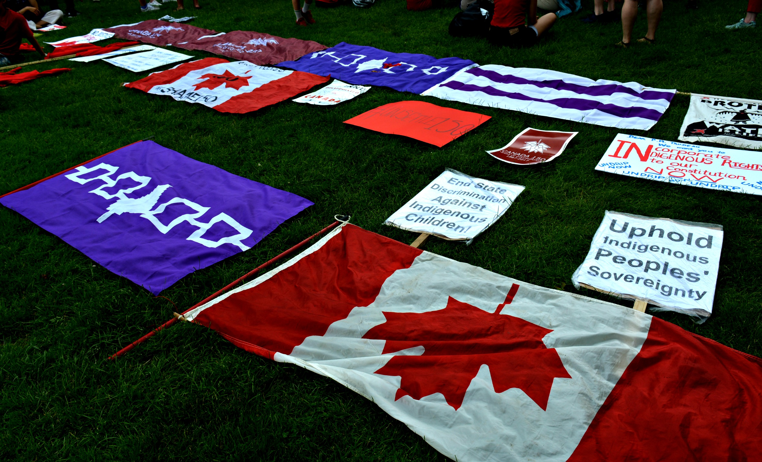 Flags set down on the ground during protests