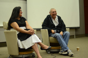 Noel Starblanket (right) is the subject of Trudy's documentary From Up North. He answered questions after a screening event at the University of Regina on May 24.