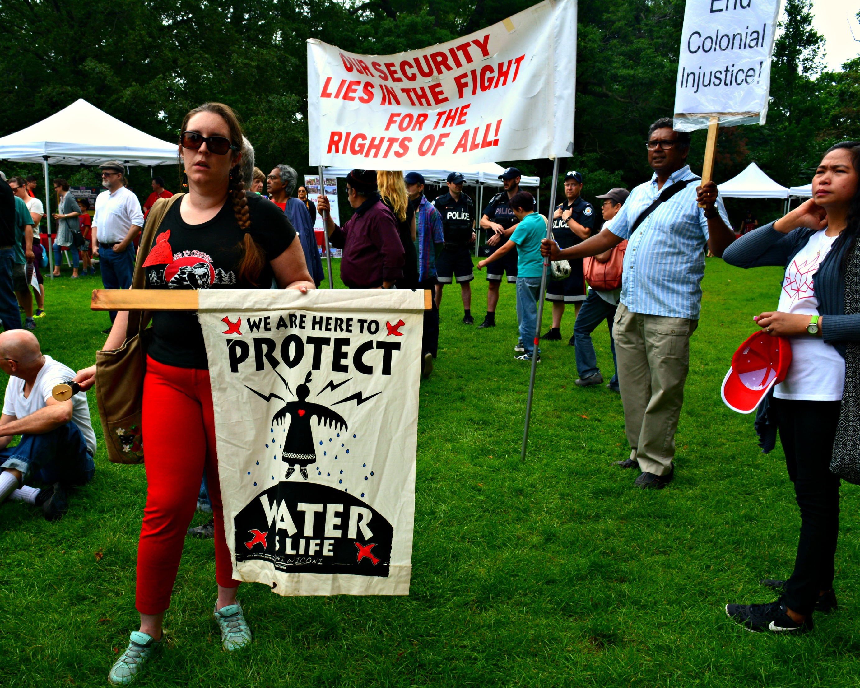 Protecting the water was also an important message of the protest.