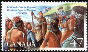 Stamp for the Great Peace of Montreal | Image source: Canada Post