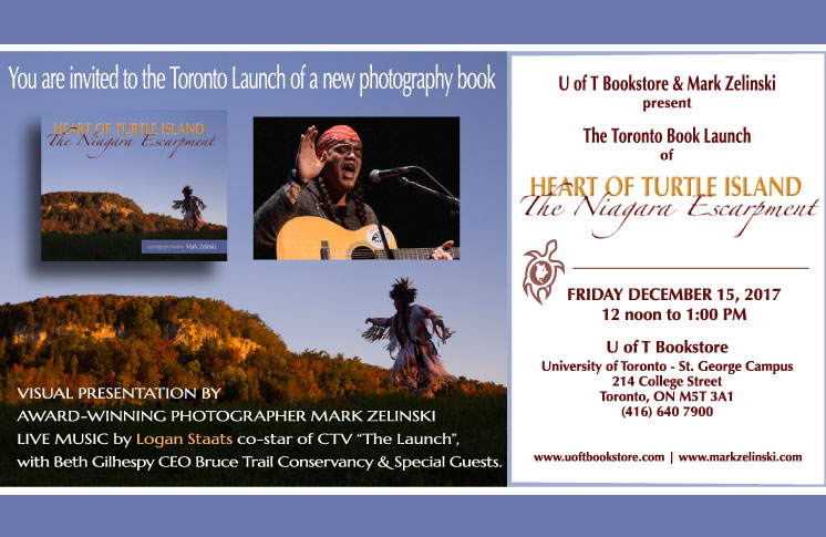"""U of T Bookstore launch of Heart of Turtle Island:The Niagara Escarpment with live music by Logan Staats co-star CTV """"The Launch"""""""
