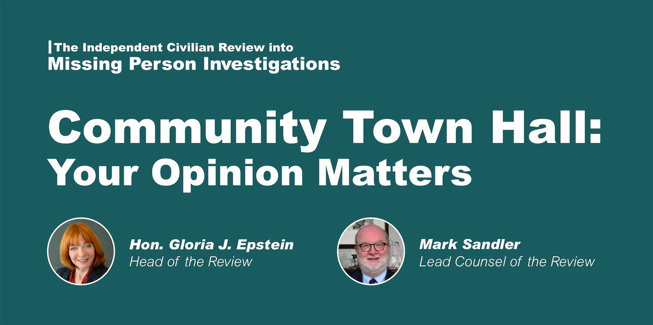 Missing Person Review | Community Town Hall