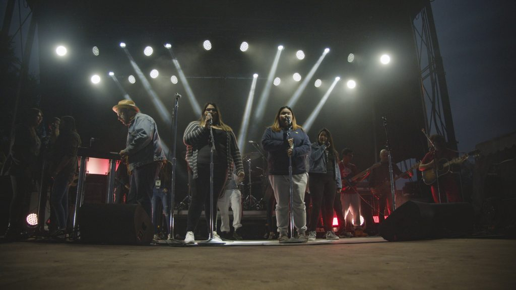People performing on a stage